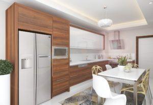Бело-древесная угловая кухня с белой глянцевой столешницей 1