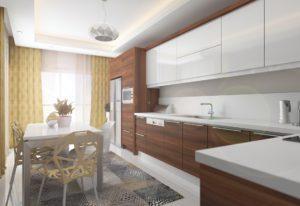 Бело-древесная угловая кухня с белой глянцевой столешницей 2