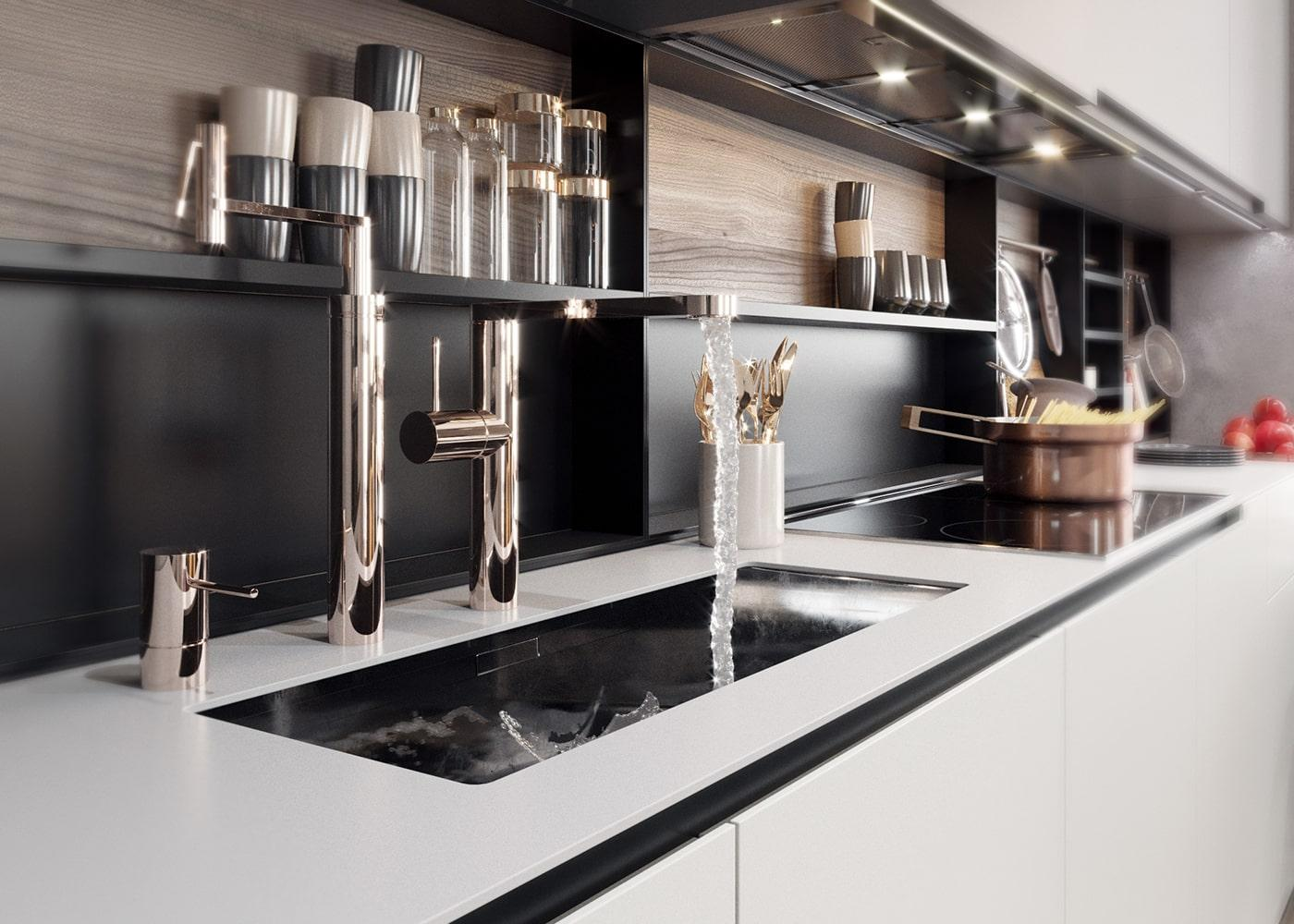 Серо-белая угловая кухня с черными стеллажами для специй 4