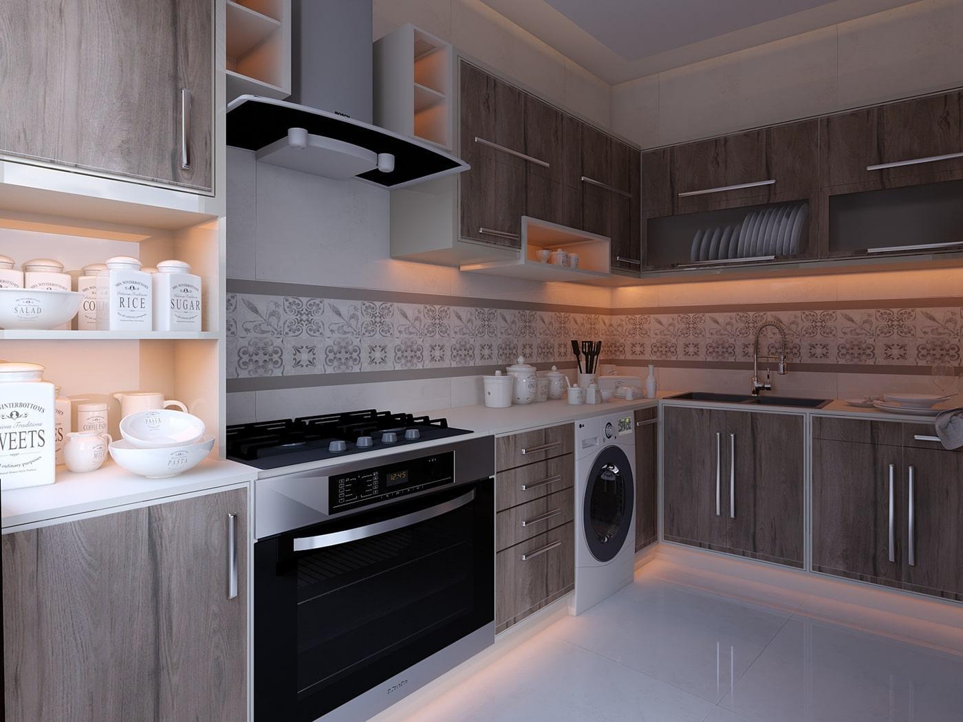 Угловая древесная кухня в белом корпусе с открытыми модулями 1