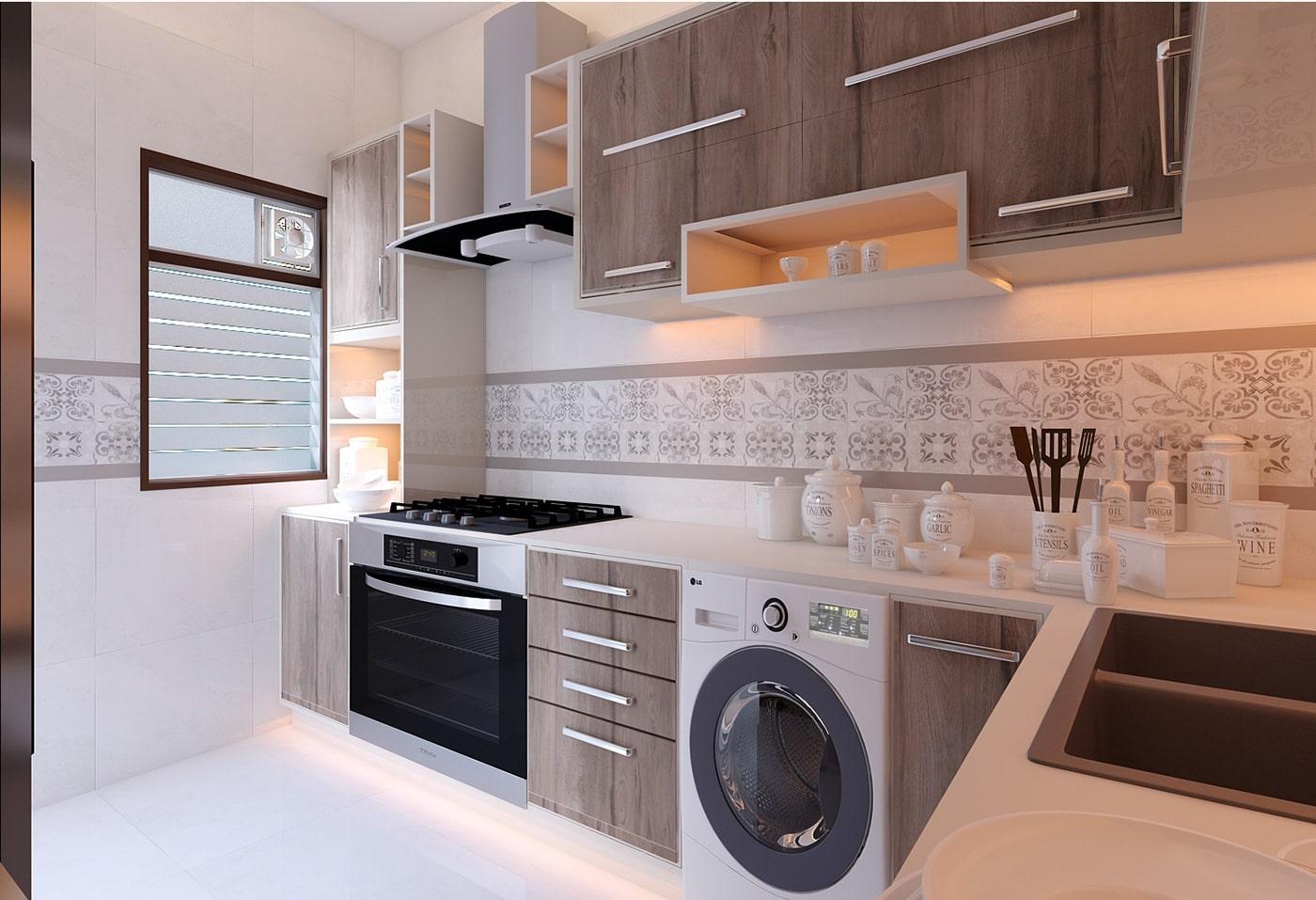 Угловая древесная кухня в белом корпусе с открытыми модулями 2