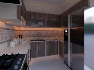 Угловая древесная кухня в белом корпусе с открытыми модулями 3