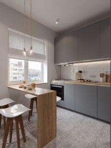Угловая кухня в матовом сером цвете с эффектом Сатин 2