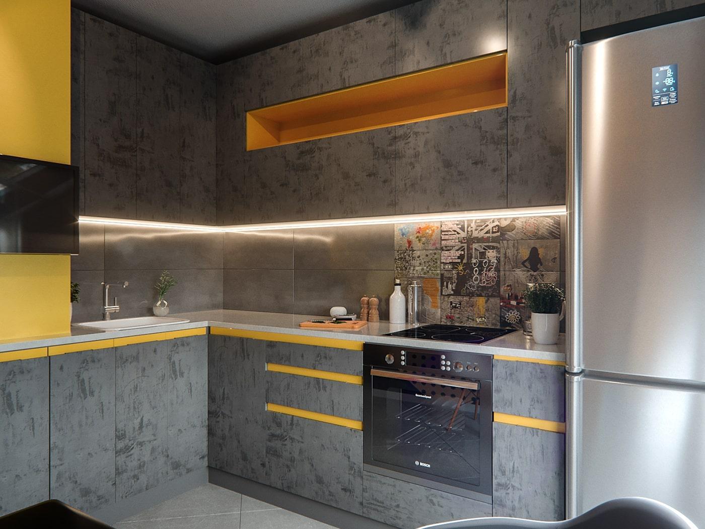 Серая угловая кухня с яркими вставками