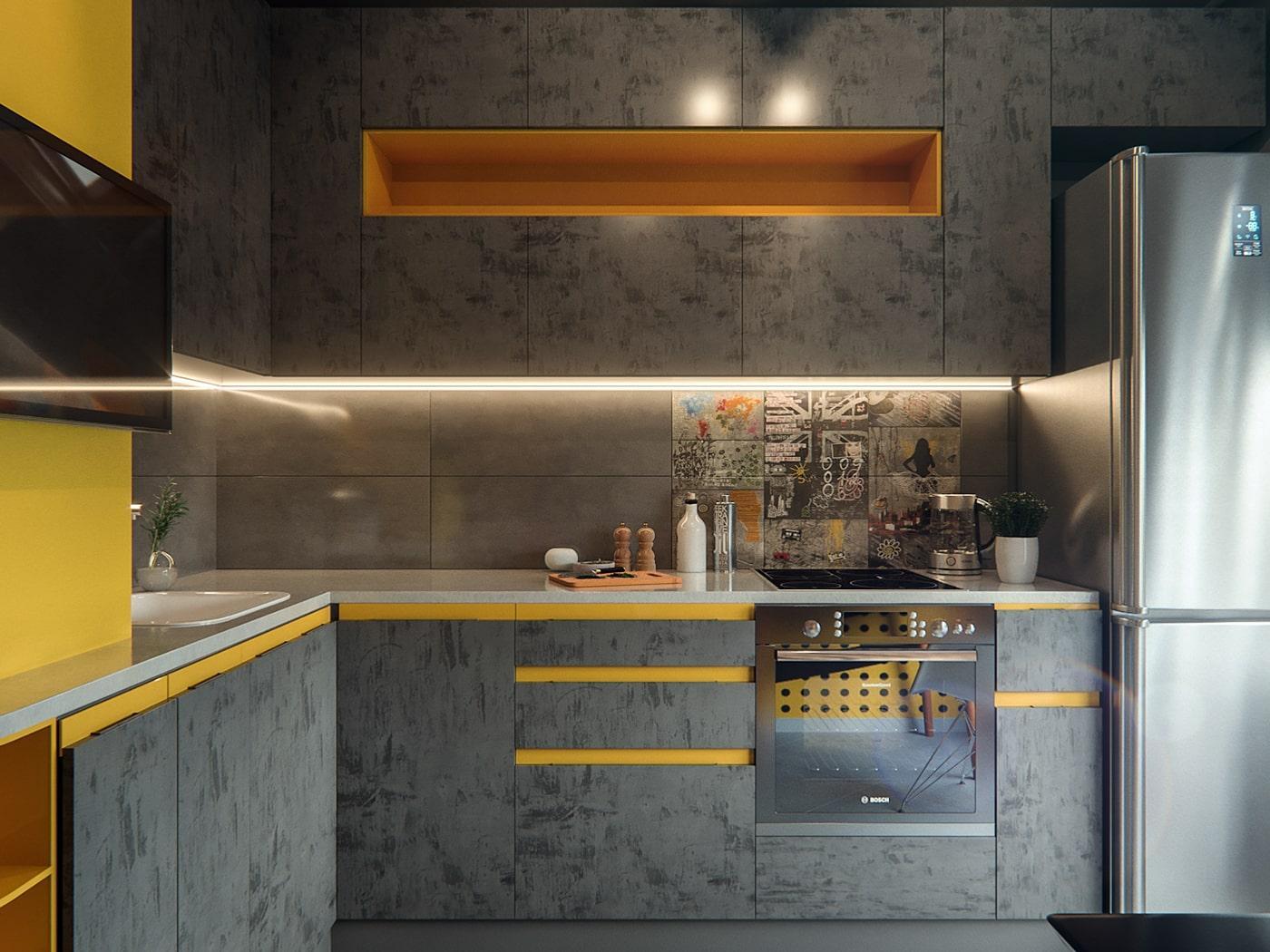 Угловая кухня с текстурными серыми фасадами и желтыми вставками 2