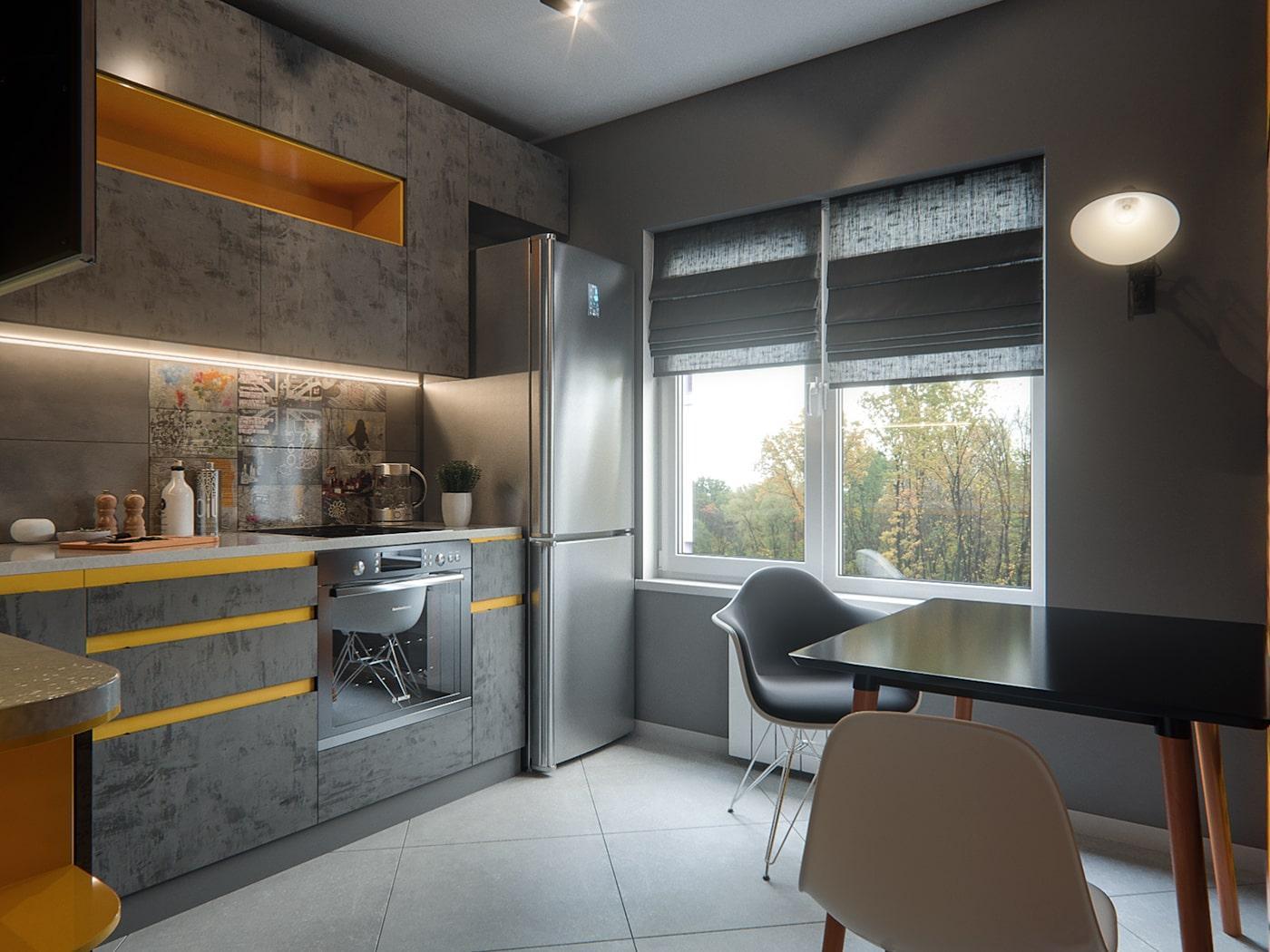 Угловая кухня с текстурными серыми фасадами и желтыми вставками 3