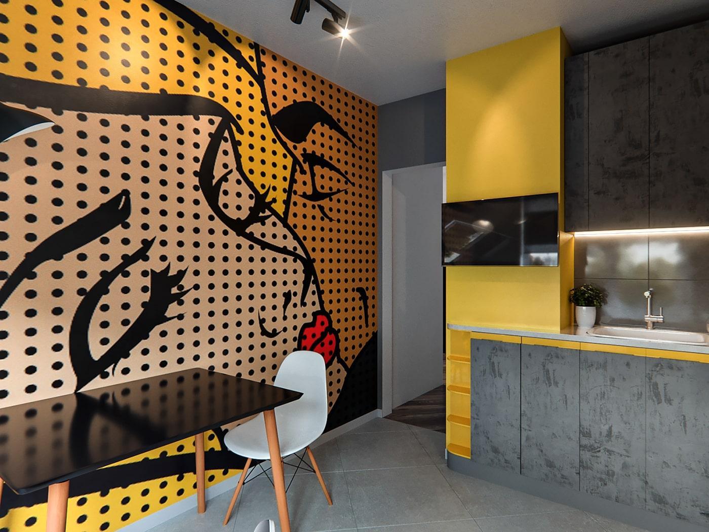 Угловая кухня с текстурными серыми фасадами и желтыми вставками 4