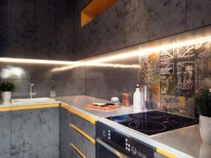 Угловая кухня с текстурными серыми фасадами и желтыми вставками 5
