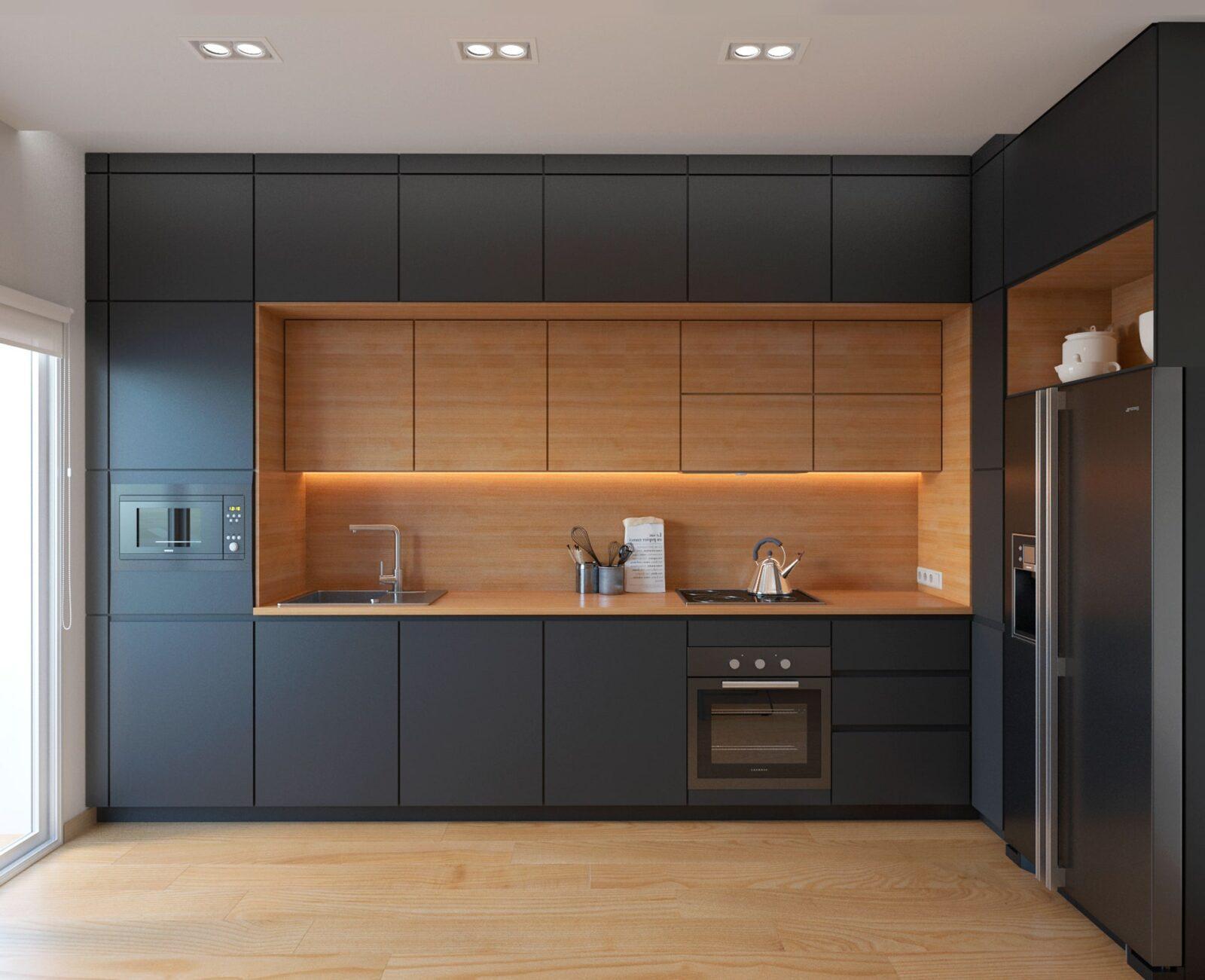 Стильная угловая кухня в 2 уровня