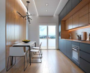 Угловая черно-древесная кухня в 2 уровня со скрытыми ручками 3