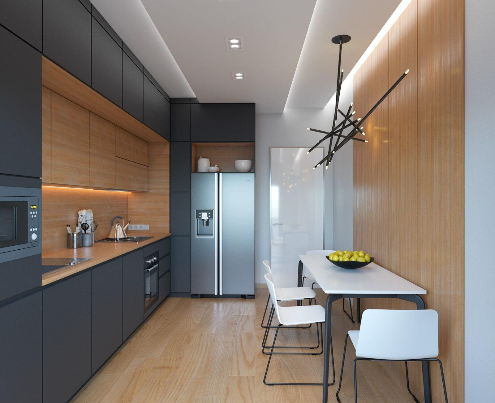 Угловая черно-древесная кухня в 2 уровня со скрытыми ручками 4