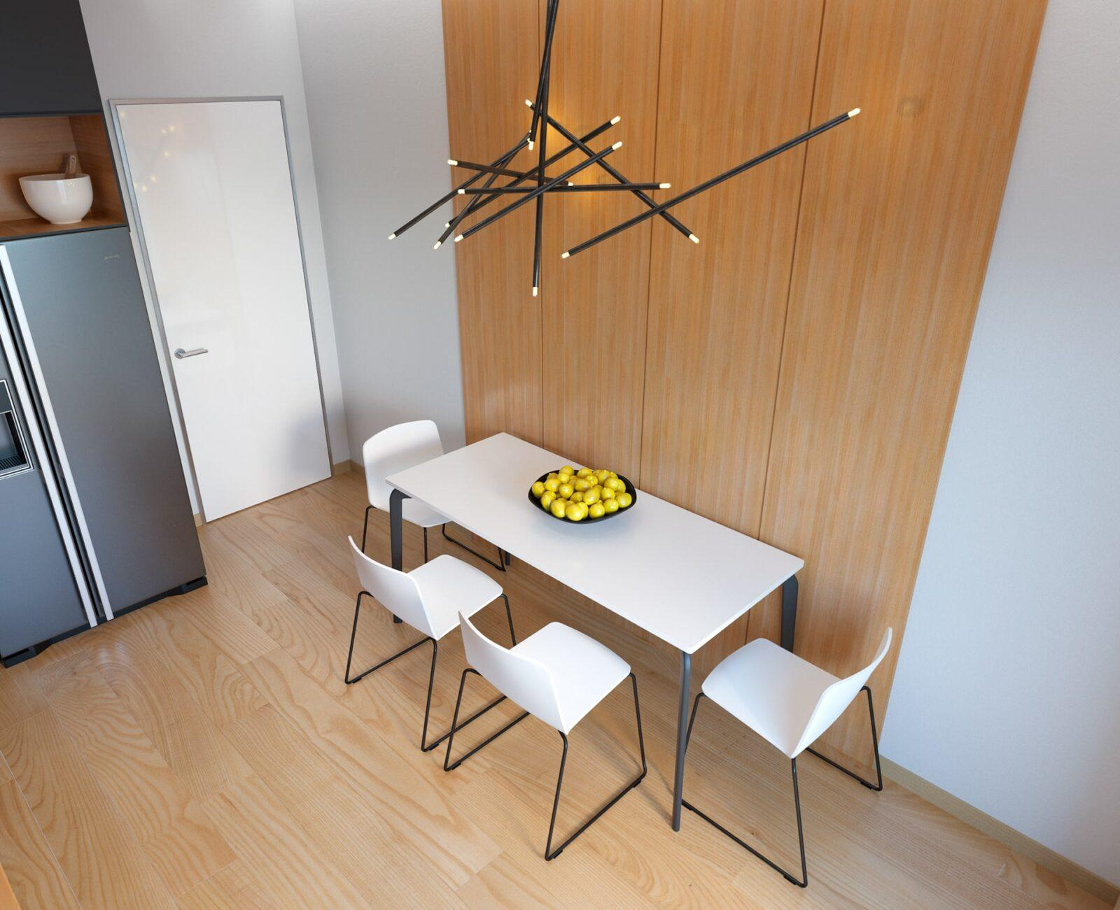 Угловая черно-древесная кухня в 2 уровня со скрытыми ручками 6