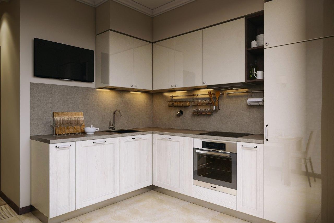 Белая угловая кухня в неоклассическом стиле